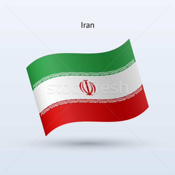Irán zászló integet űrlap szürke felirat Stock fotó © tkacchuk