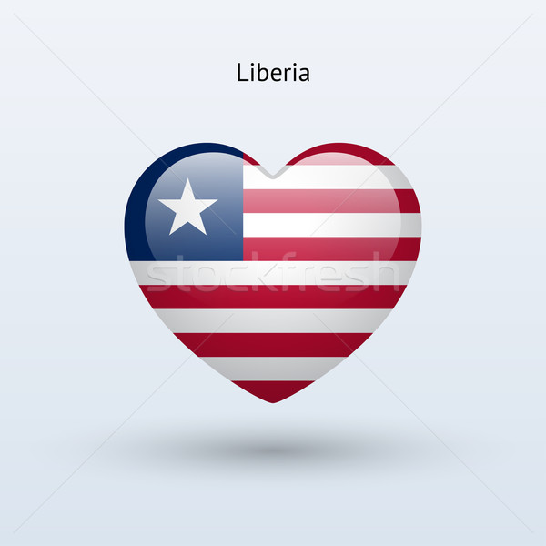 Love Liberia symbol. Heart flag icon. Stock photo © tkacchuk