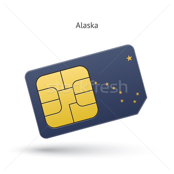 Stock photo: State of Alaska phone sim card with flag.