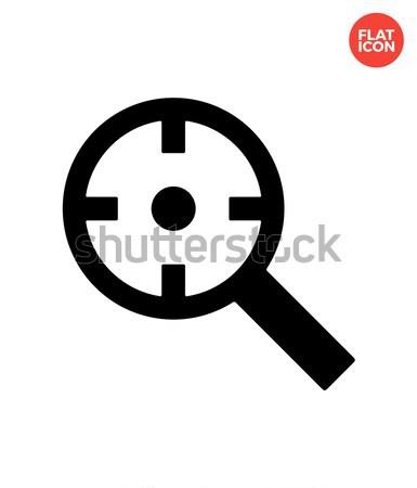 Magnifier crosshair icon on white background. Stock photo © tkacchuk
