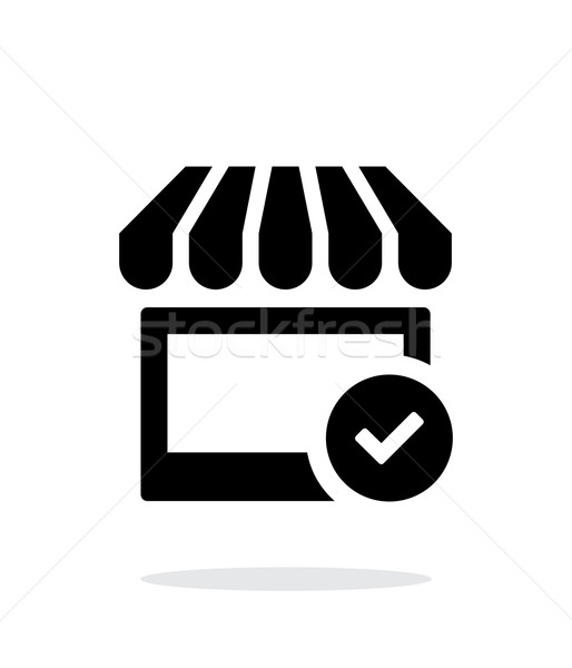 Shop check icon on white background. Stock photo © tkacchuk
