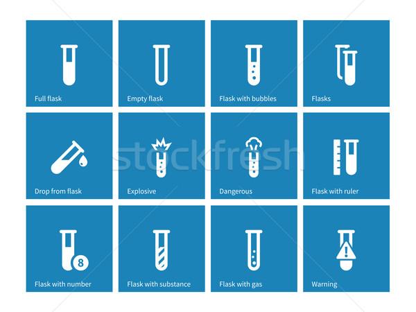 Biochemie reageerbuis iconen Blauw medische glas Stockfoto © tkacchuk