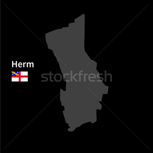 Detailed map of Herm with flag on black background Stock photo © tkacchuk
