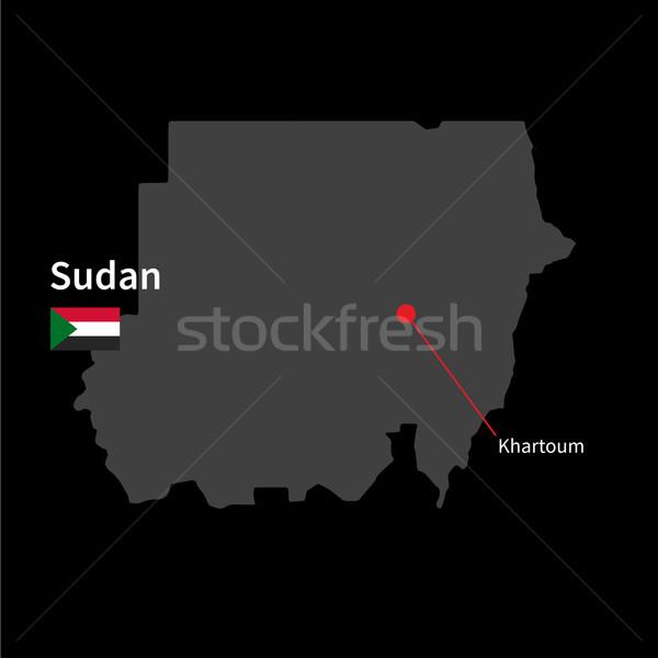 Részletes térkép Szudán város zászló fekete Stock fotó © tkacchuk