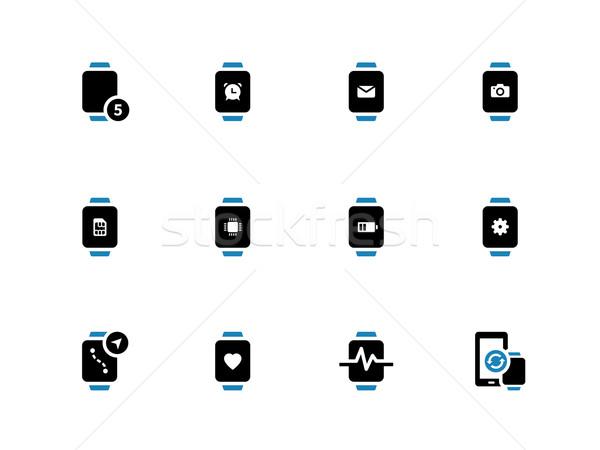 Smart ansehen Batterie Einstellungen Symbole weiß Stock foto © tkacchuk