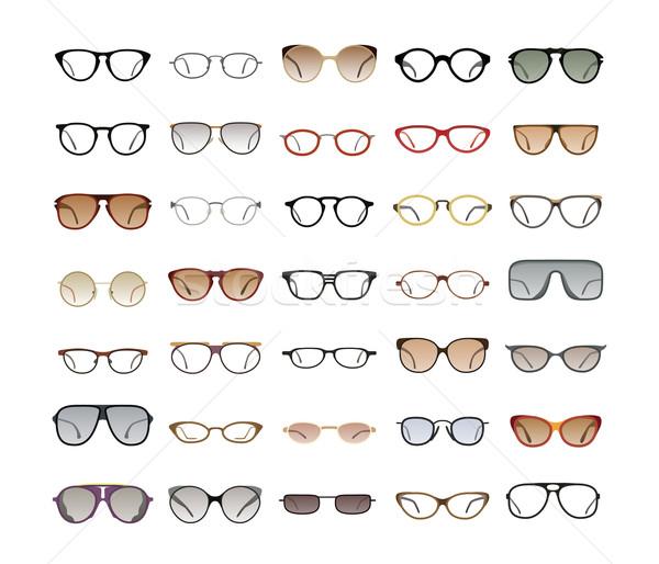 Stock fotó: Szín · napszemüveg · fehér · vektor · gyűjtemény · szemüveg