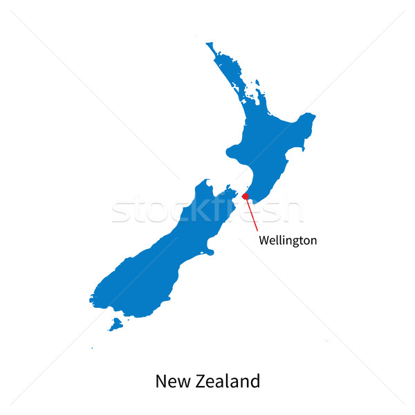 Detailed vector map of New Zealand and capital city Wellington Stock photo © tkacchuk