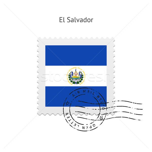 El Salvador zászló postabélyeg fehér felirat levél Stock fotó © tkacchuk