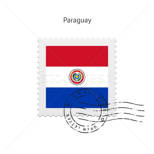 Paragwaj banderą znaczek pocztowy biały podpisania list Zdjęcia stock © tkacchuk