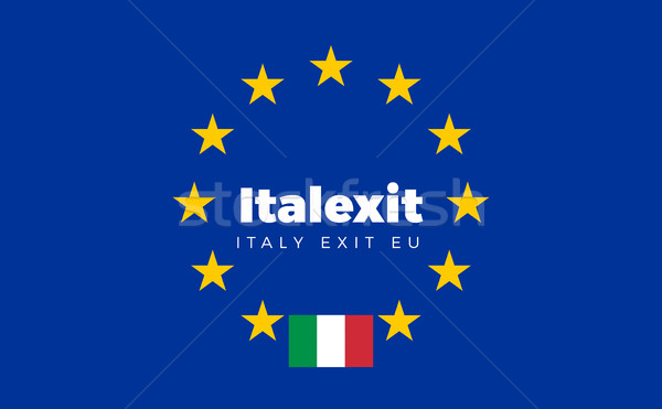 Flag of Italy on European Union. Italexit - Italy Exit EU Europe Stock photo © tkacchuk