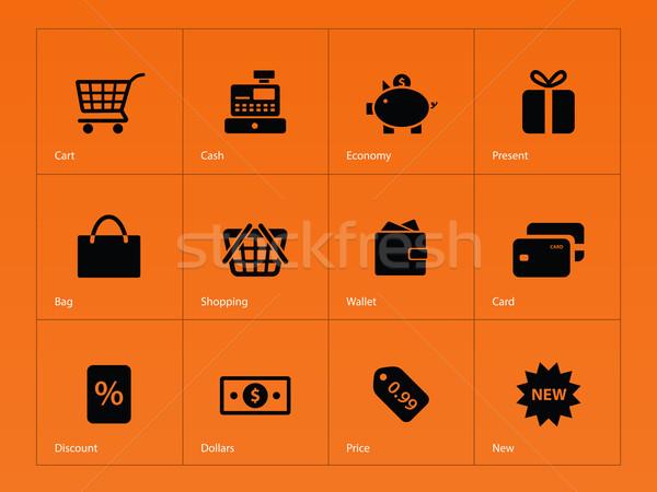 Winkelen iconen oranje financieren zak geschenk Stockfoto © tkacchuk
