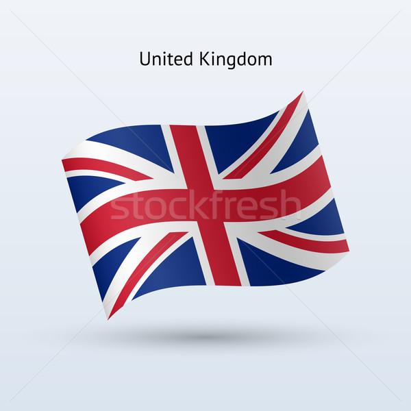 Egyesült Királyság zászló integet űrlap szürke felirat Stock fotó © tkacchuk