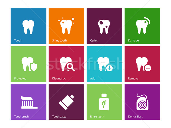 Tooth, teeth icons on color background. Stock photo © tkacchuk