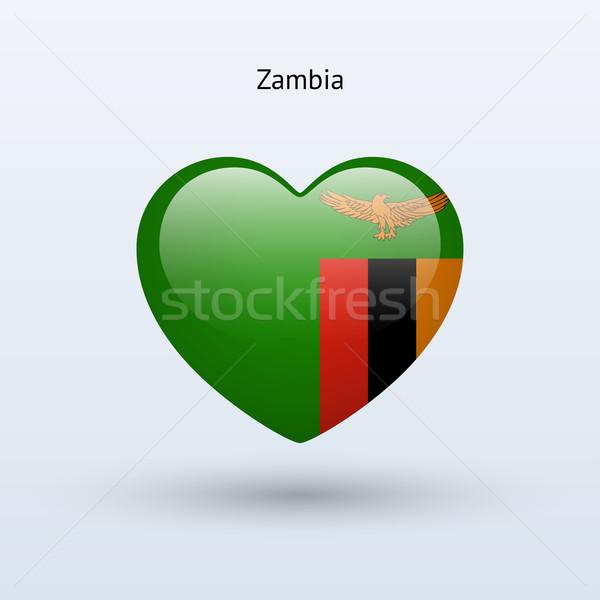 любви Замбия символ сердце флаг икона Сток-фото © tkacchuk