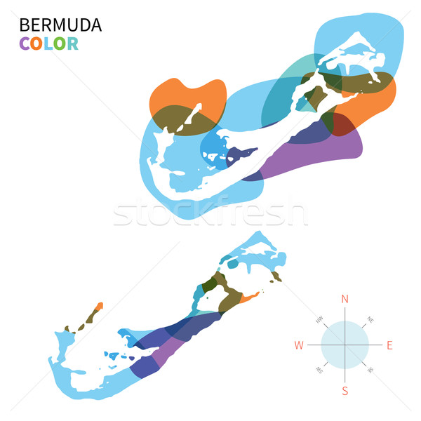 Abstract vector color map of Bermuda with transparent paint effect. Stock photo © tkacchuk
