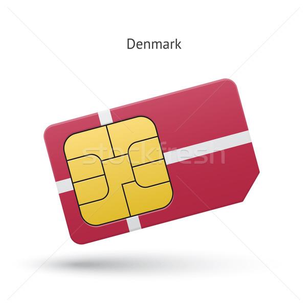 Dinamarca teléfono móvil tarjeta bandera negocios diseno Foto stock © tkacchuk