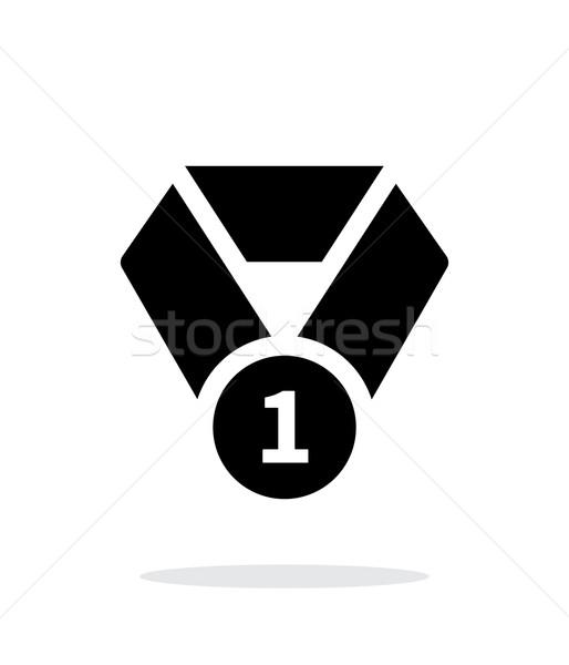 Primeiro lugar medalha simples ícone branco esportes Foto stock © tkacchuk