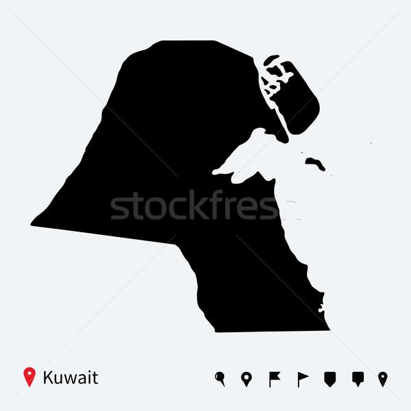 Alto detalhado vetor mapa Kuweit navegação Foto stock © tkacchuk