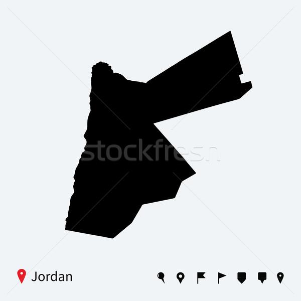 Alto detalhado vetor mapa Jordânia navegação Foto stock © tkacchuk