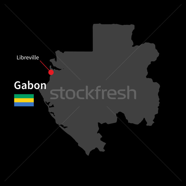Detailed map of Gabon and capital city Libreville with flag on black background Stock photo © tkacchuk