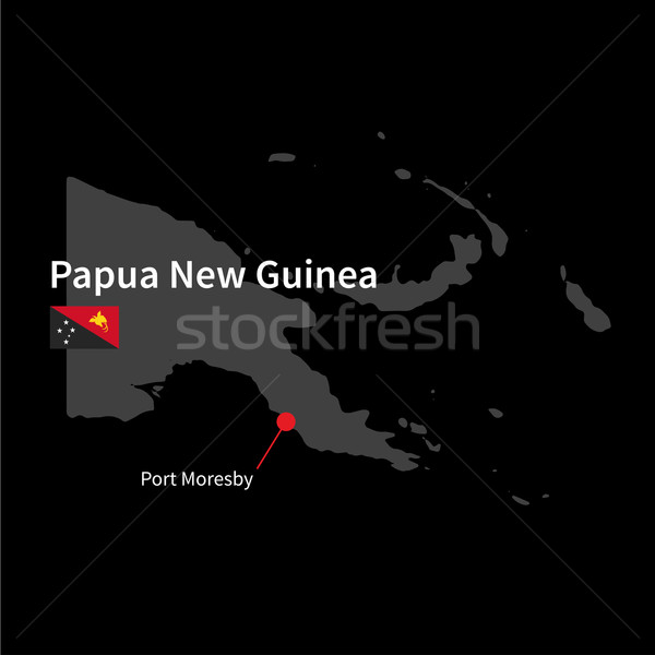 подробный карта Папуа-Новая Гвинея город порта флаг Сток-фото © tkacchuk