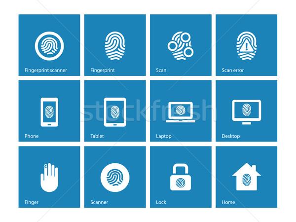 Touch id fingerprint icons on blue background. Stock photo © tkacchuk