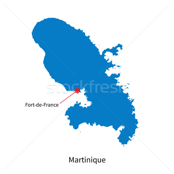 Vector map of Martinique and capital city Fort-de-France Stock photo © tkacchuk