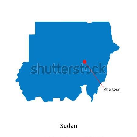 Foto stock: Detalhado · vetor · mapa · Sudão · cidade · mundo
