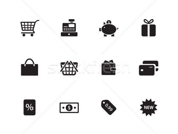Winkelen iconen witte financieren zak geschenk Stockfoto © tkacchuk