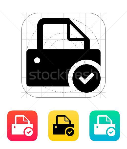 Printer with check sign icon. Stock photo © tkacchuk
