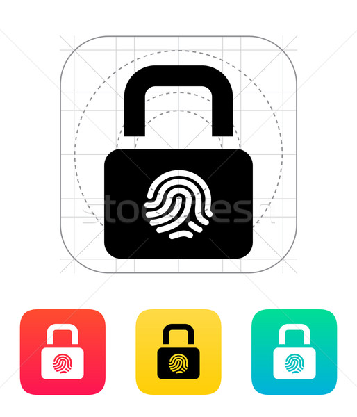 Ujjlenyomat biztonságos zár ikon kéz biztonság Stock fotó © tkacchuk