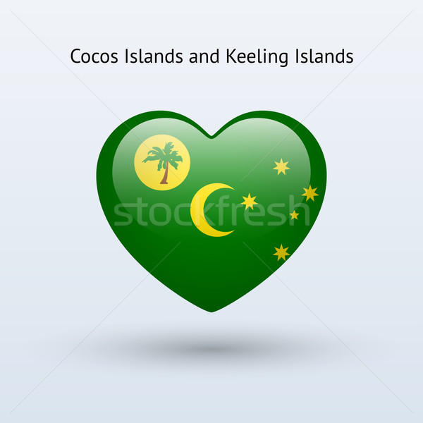 Love Cocos and Keeling Islands symbol. Heart flag icon. Stock photo © tkacchuk