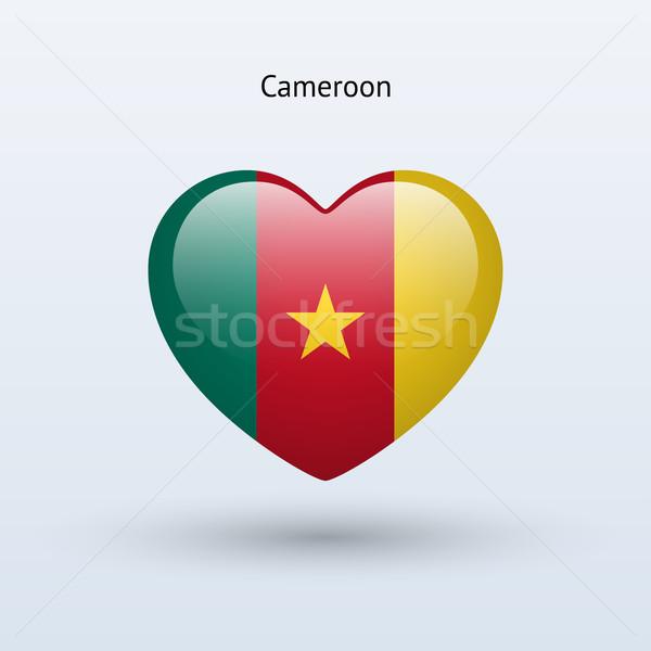 Miłości Kamerun symbol serca banderą ikona Zdjęcia stock © tkacchuk
