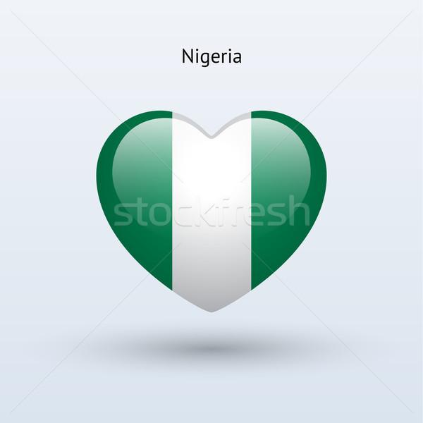Amor Nigéria símbolo coração bandeira ícone Foto stock © tkacchuk