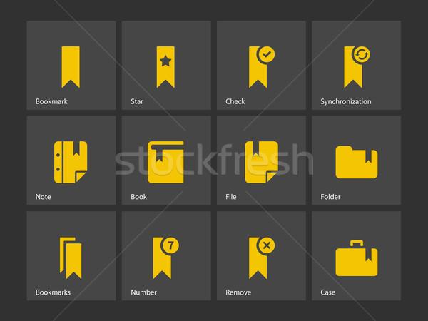 Bladwijzer tag favoriet iconen papier boek Stockfoto © tkacchuk