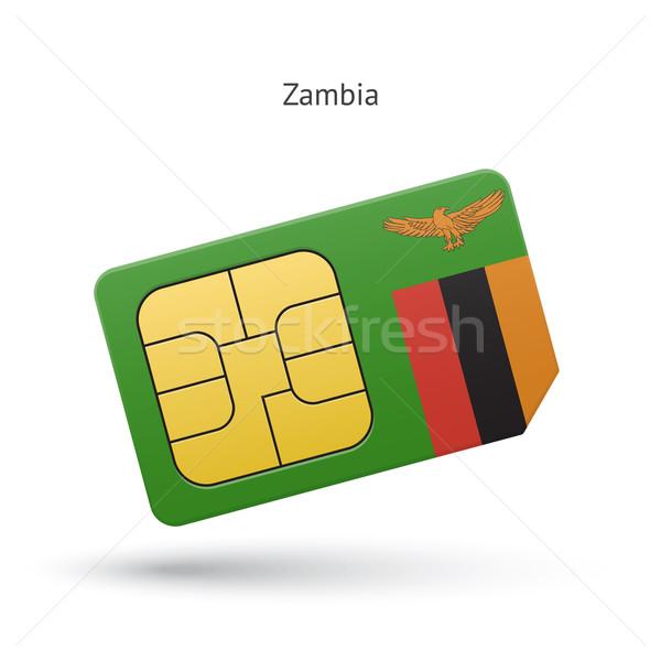 Zambia mobiltelefon kártya zászló üzlet terv Stock fotó © tkacchuk