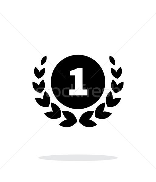 最初の場所 金メダル アイコン 白 シルエット 成功 ストックフォト © tkacchuk