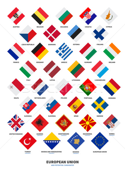 Member state of the European Union and Candidate flags Rhombus form Stock photo © tkacchuk