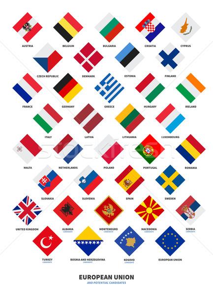 Membro unione candidato bandiere forma Foto d'archivio © tkacchuk