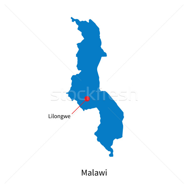 Detailed vector map of Malawi and capital city Lilongwe Stock photo © tkacchuk