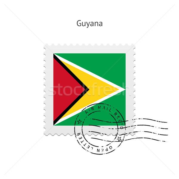 Guyana zászló postabélyeg fehér felirat levél Stock fotó © tkacchuk