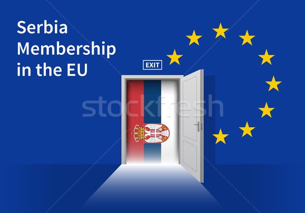 European Union flag wall with Slovakia flag door. EU Flag. Stock photo © tkacchuk