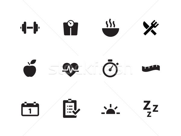 Fitness icons on white background. Stock photo © tkacchuk