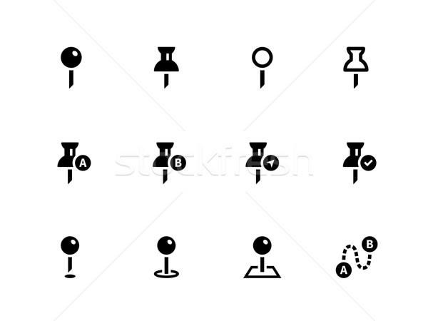 Mapping Pin icons on white background. Stock photo © tkacchuk