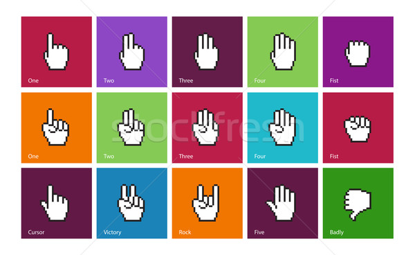 Pixel cursors icons: mouse hands. Stock photo © tkacchuk