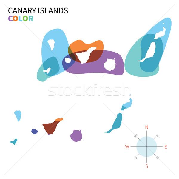 抽象的な ベクトル 色 地図 カナリア諸島 透明な ストックフォト © tkacchuk