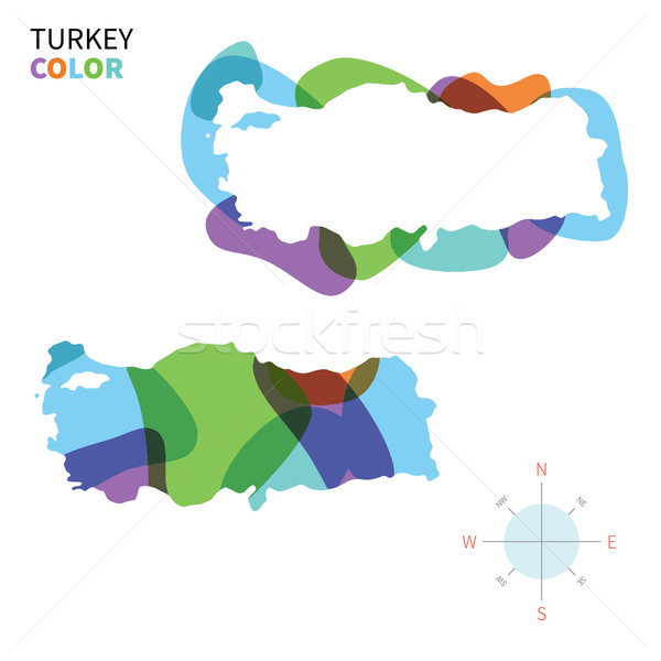 Abstract vector color map of Turkey with transparent paint effect. Stock photo © tkacchuk