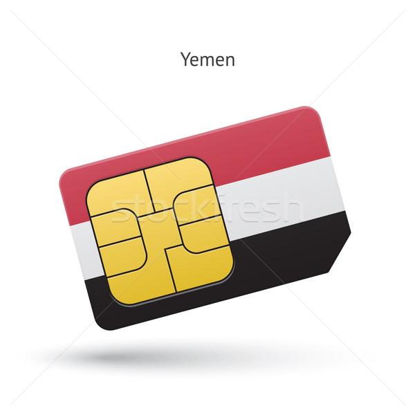 Yemen mobile phone sim card with flag. Stock photo © tkacchuk