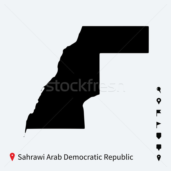 High detailed vector map of Sahrawi Arab Democratic Republic with pins. Stock photo © tkacchuk