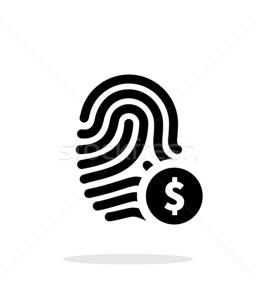 Fingerprint with USD currency symbol and money label icon on white background. Stock photo © tkacchuk